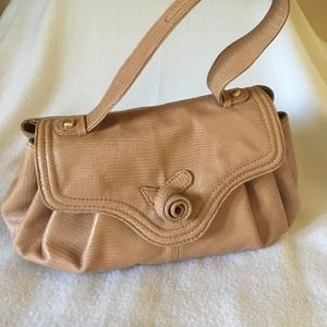 "BCBG MaxAzria Beige Leather Bag Satchel 11""x4""x7.5"